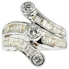 Vintage 5 Carat Diamonds Past, Present and Future 14 Karat White Gold Ring