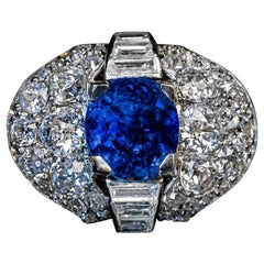Vintage 5 Carat Natural Ceylon Sapphire Diamond Platinum Gold Ring