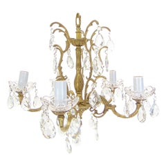 Vintage 5-Light Crystal and Brass Chandelier Spain