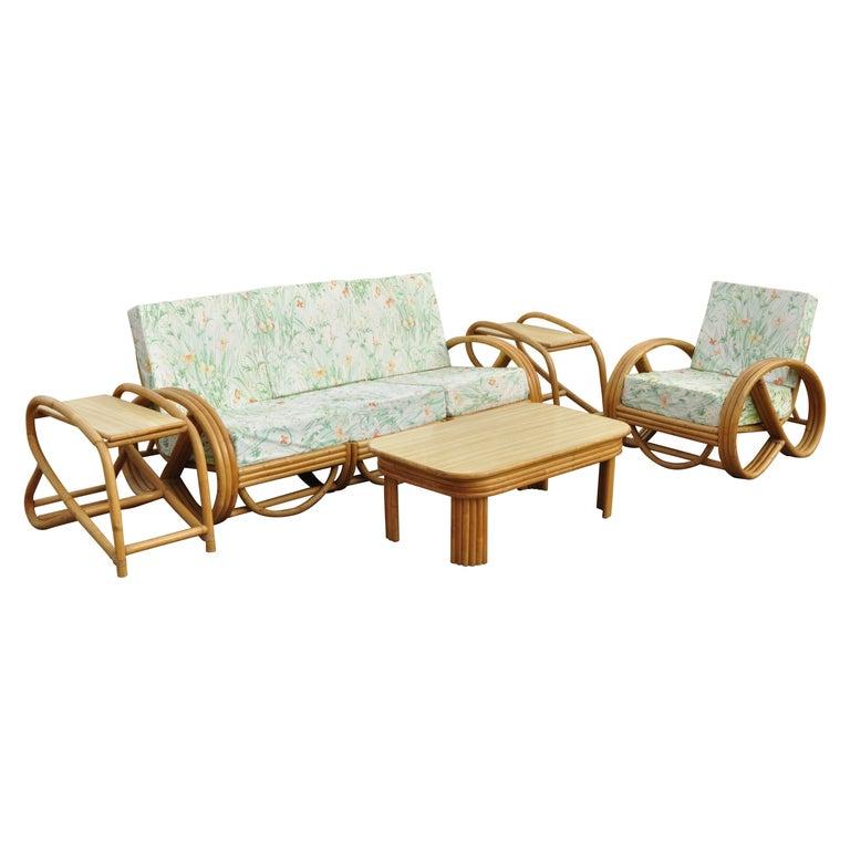 Vintage 5 Piece Beverly Hills Rattan Bamboo Pretzel Sunroom Living Room Sofa Set For Sale At 1stdibs