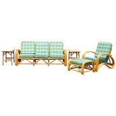 Vintage 5-Piece Rattan Bamboo Pretzel Sunroom Tiki Living Room Sofa Chair Set