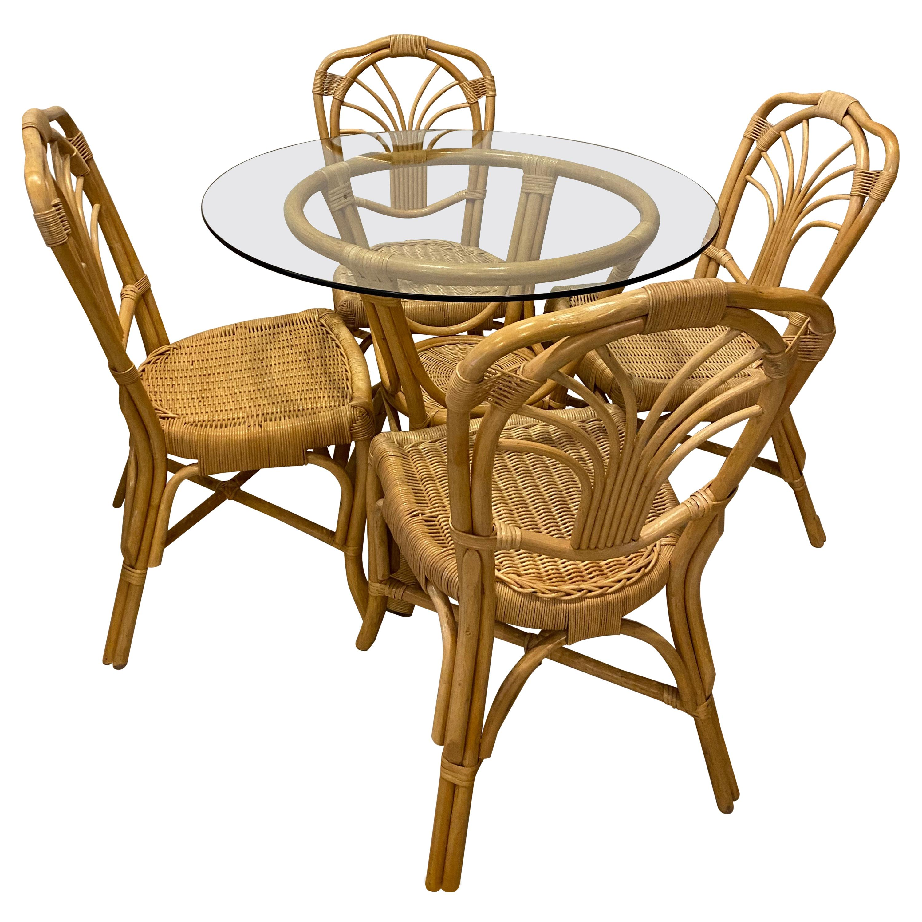 Vintage 5 Piece Rattan & Wicker Dining Set Table & Chairs Dinette
