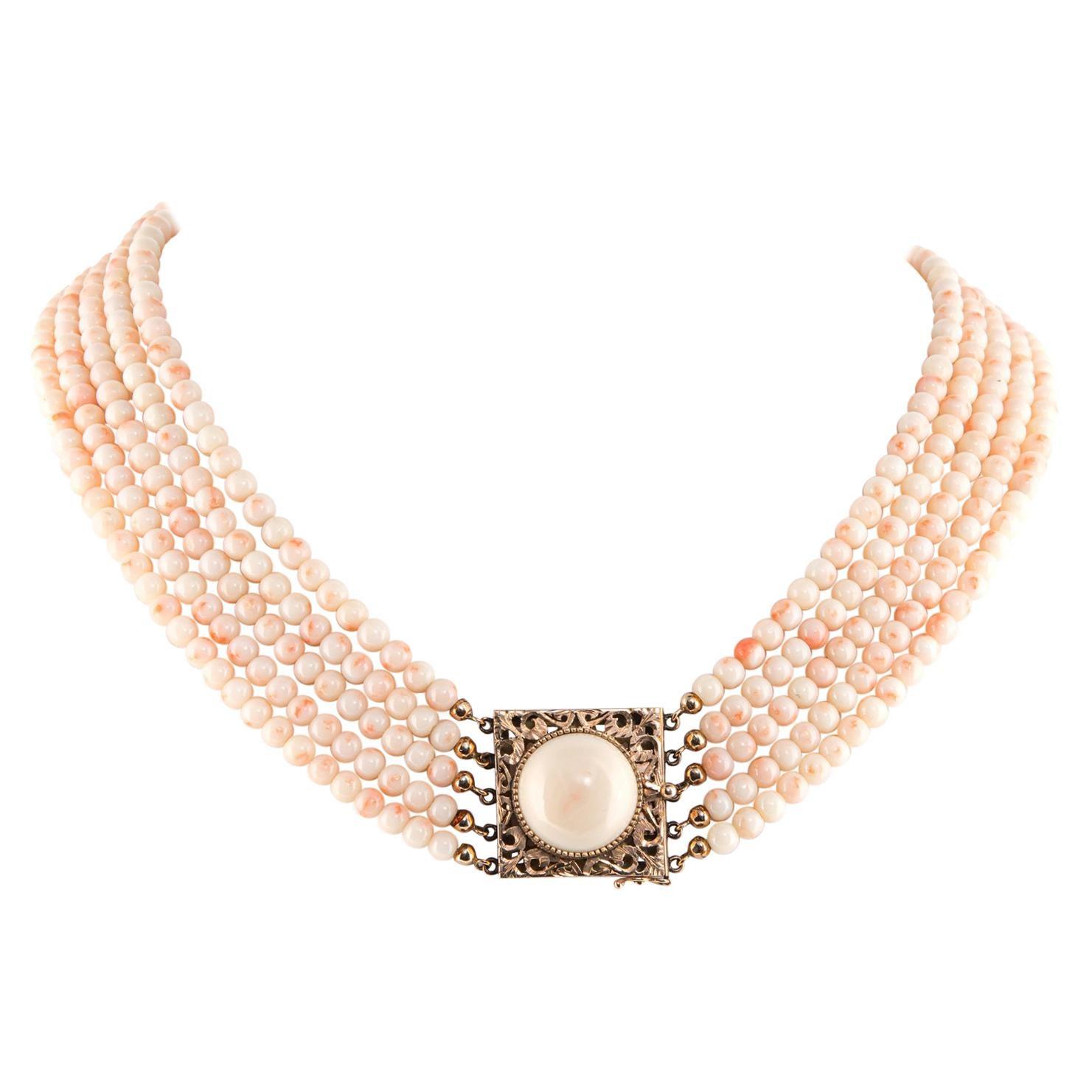 Vintage 5-Strand Angel Skin Coral Choker Necklace Multi Strand Jewelry