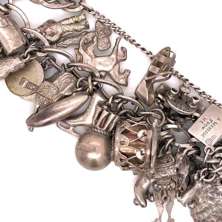 Vintage 50 Piece Sterling Silver Charm Bracelet Great ...