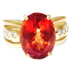 Vintage 5.00 Carat Orange Beryl Diamond Cocktail Ring