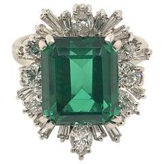 Vintage 5.00 Carat Tourmaline Diamond Gold Ring