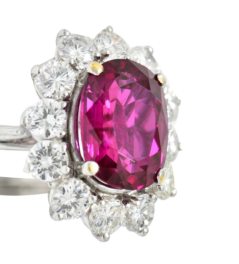 Vintage 5.02 Carats No Heat Ruby Diamond Platinum Cluster Ring GIA For Sale 4