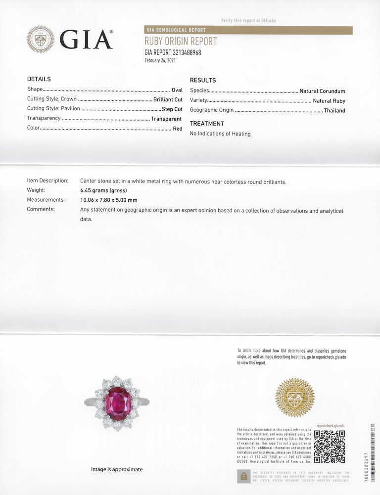 Vintage 5.02 Carats No Heat Ruby Diamond Platinum Cluster Ring GIA For Sale 5