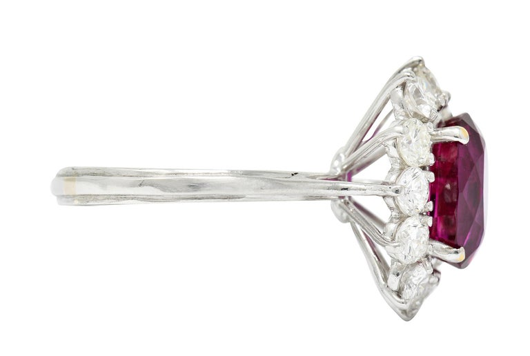 Contemporary Vintage 5.02 Carats No Heat Ruby Diamond Platinum Cluster Ring GIA For Sale