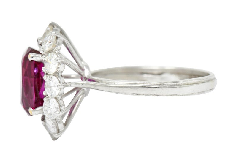 Vintage 5.02 Carats No Heat Ruby Diamond Platinum Cluster Ring GIA In Excellent Condition For Sale In Philadelphia, PA