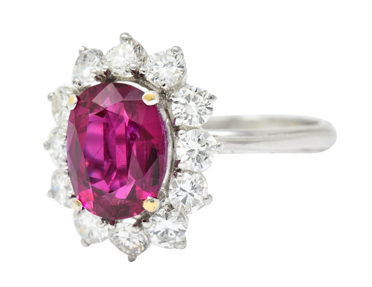 Women's or Men's Vintage 5.02 Carats No Heat Ruby Diamond Platinum Cluster Ring GIA For Sale