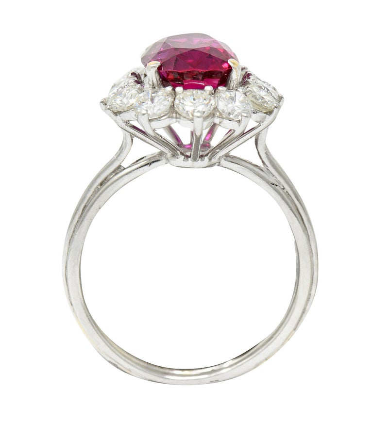 Vintage 5.02 Carats No Heat Ruby Diamond Platinum Cluster Ring GIA For Sale 1