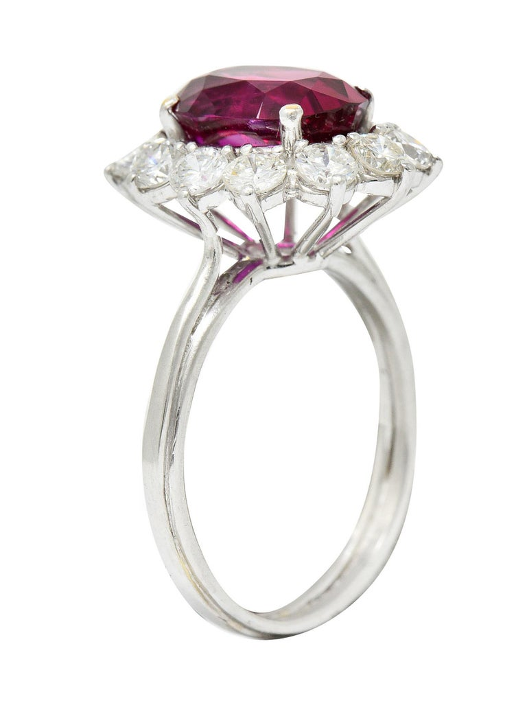 Vintage 5.02 Carats No Heat Ruby Diamond Platinum Cluster Ring GIA For Sale 2