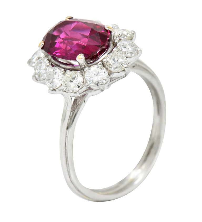 Vintage 5.02 Carats No Heat Ruby Diamond Platinum Cluster Ring GIA For Sale 3