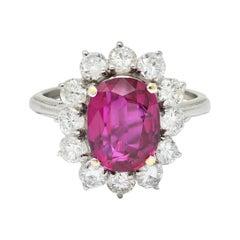Vintage 5.02 Carats No Heat Ruby Diamond Platinum Cluster Ring GIA