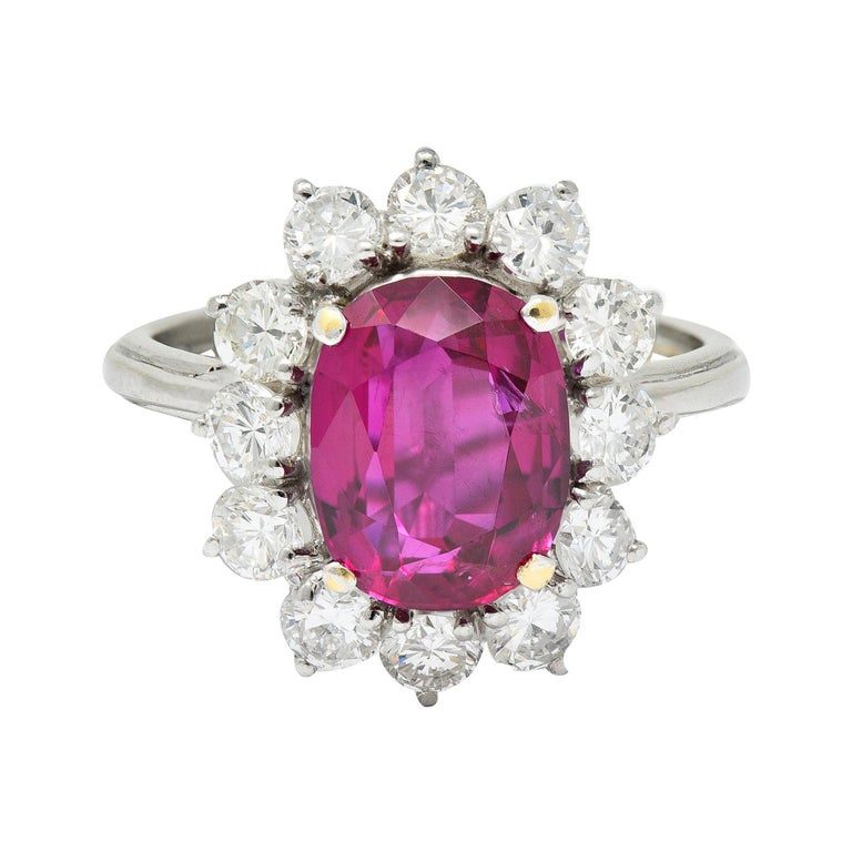 Vintage 5.02 Carats No Heat Ruby Diamond Platinum Cluster Ring GIA For Sale