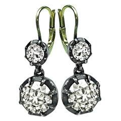 Vintage 5.10ct Diamond Earrings