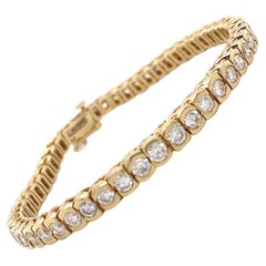 Vintage 5.20 Carat Diamond Gold Tennis Bracelet