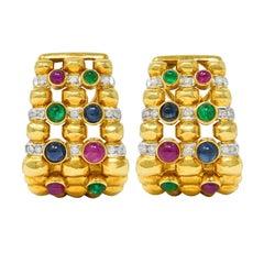 Vintage 5.45 Carats Sapphire Ruby Emerald Diamond 18 Karat Gold Earrings