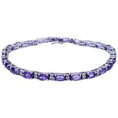 Vintage 5.50 Carat Amethyst and Diamond Tennis Bracelet