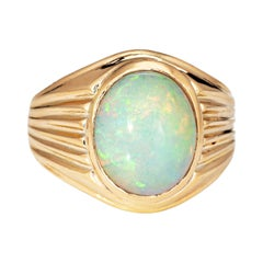 Vintage 5.50ct Opal Ring 18k Yellow Gold Mens Signet Estate Fine Jewelry