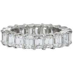 Vintage 5.60 Carat Emerald Cut Diamond Platinum Eternity Band Ring
