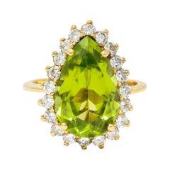 Vintage 5.60 Carats Peridot Diamond 14 Karat Gold Pear Cluster Ring