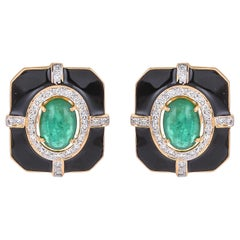 Vintage 5.69 Carat Emerald Diamond and Black Enamel 18 Karat Yellow Gold Earring