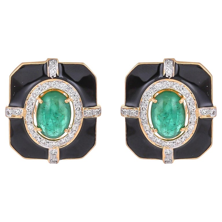 5.69 Carat Emerald Diamond And Black Enamel 18 Karat Yellow Gold Earrings For Sale
