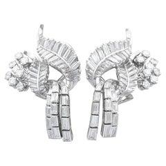 Vintage 5.90 Carat Diamond and Platinum Tassel Earrings