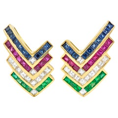 Vintage 5.92 Carat Emerald Ruby Sapphire Diamond 18 Karat Gold Chevron Earrings