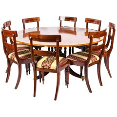 Vintage Regency Revival Dining Table and 8 Chairs, 20th Century
