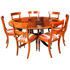 Vintage Round Table by Millwood and 6 Dining Chairs, 20th Century