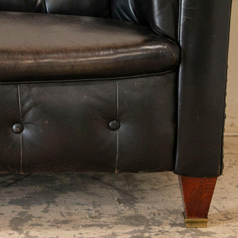 Vintage Black Leather Chesterfield Sofa 1