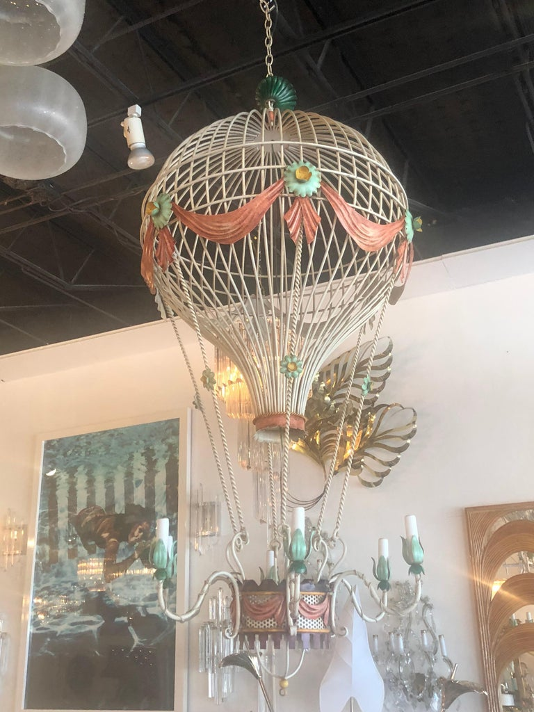 Vintage 6 Light Italian Tole Hot Air Balloon Chandelier