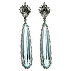 Vintage 60 Carat Aquamarine Diamond Gold Earrings
