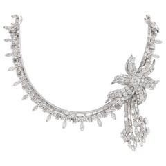 Vintage 60 Carat Diamond Floral Necklace Platinum