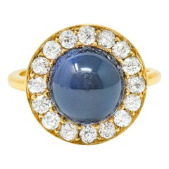 Vintage 6.09 Carats No Heat Australian Sapphire Diamond 18 Karat Gold Ring