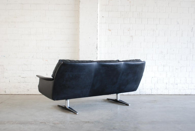Vintage 1960s Design German Black Leather Sofa 12