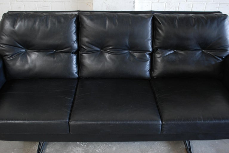 Vintage 1960s Design German Black Leather Sofa 13