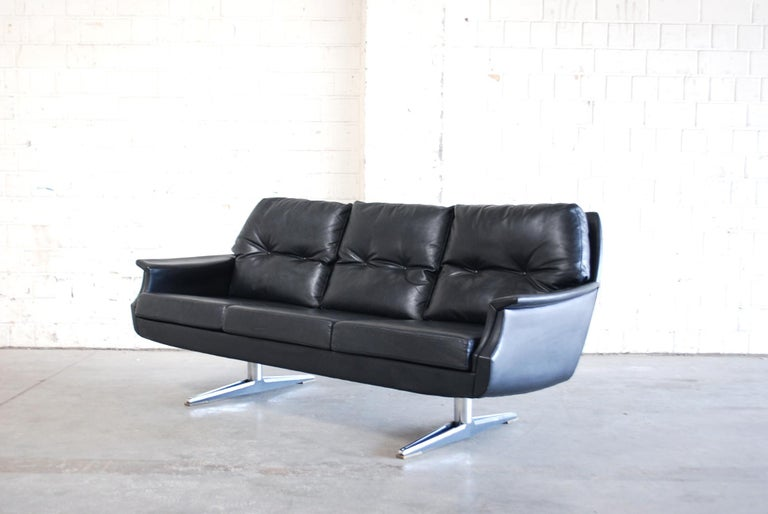 Vintage 1960s Design German Black Leather Sofa 14