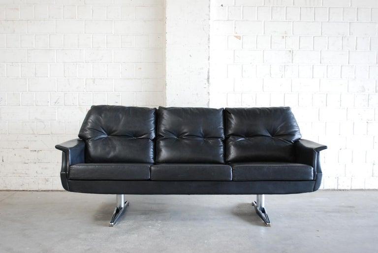Vintage 1960s Design German Black Leather Sofa 3