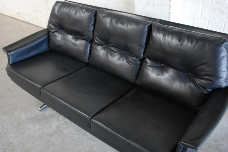 Vintage 1960s Design German Black Leather Sofa 4