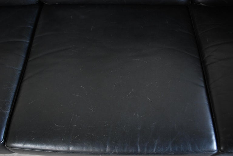 Vintage 1960s Design German Black Leather Sofa 5