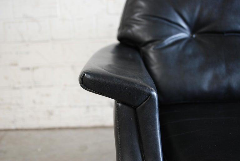 Vintage 1960s Design German Black Leather Sofa 6