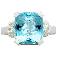 Vintage 6.24 Carat Aquamarine and Diamond, White Gold Dress Ring