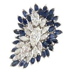 Vintage 6.25 Ctw Diamond & Sapphire 14kt Gold Cluster Ring, circa 1970