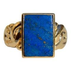 Vintage 6.38 Carat Lapis Lazuli 14 Karat Gold Rectangular Signet Ring