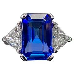 Vintage 6.5 Carat Blue Tanzanite Diamond Cocktail Ring White Gold Portugal 1990s