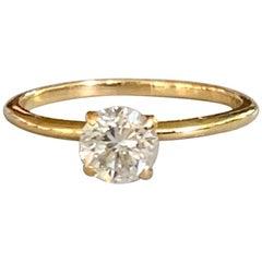 Vintage .65 Carat Diamond Solitaire 14 Karat Yellow Gold Ring